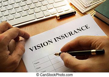 synet, politik forsikring, på, en, kontor, tabel.