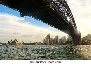 synet, under, den, havn bro, sydney, australien