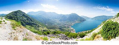 synhåll, av, boka-kotor, vik, montenegro