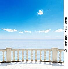 synhåll, av, den, hav, från, a, hotell, terrassera