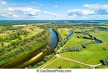synhåll, av, den, seym, flod, hos, baturyn, in, ukraina