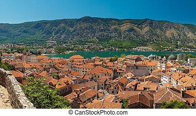 synhåll, av, kotor, vik, på, solig dag, kotor, montenegro