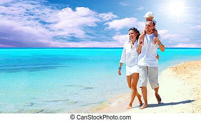 synhåll, av, lycklig, ung släkt, havande kul, stranden