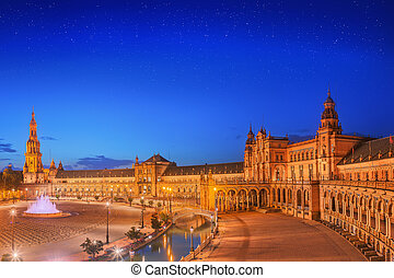 synhåll, av, spanien, fyrkant, på, solnedgång, gränsmärke,...
