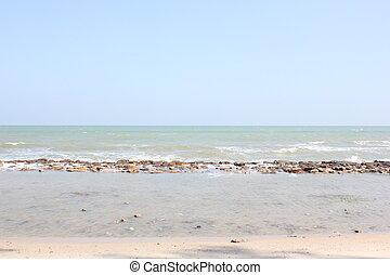 synhåll, av, vågor, från, den, hav, på, strand.