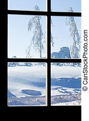 synhåll, av, vinter, oväder, genom, paned, fönster