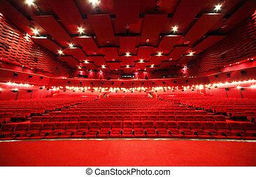 synhåll, från, arrangera, på, innertak, och, ror, av, komfortabel, röd, stol, in, belysa, röd, rum, bio