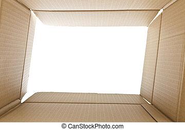 synhåll, från, insida, a, kartong kasse