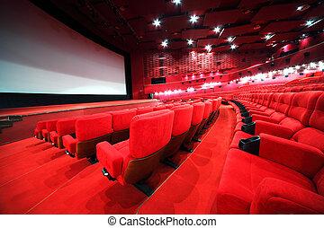 synhåll, från, trappa, på, ror, av, komfortabel, röd, stol, in, belysa, röd, rum, bio