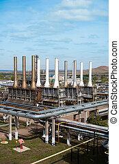 synhåll, gas, tillverkning av, fabrik