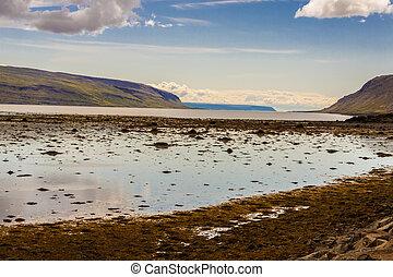 synhåll, på, kollafjordur, från, muli, by, -, iceland.
