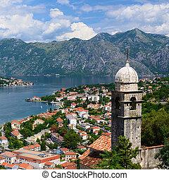 synhåll, på, vik, av, kotor, in, montenegro