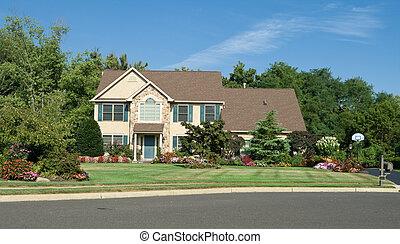 synhåll, philadelphia, famly, förorts-, pennsylvania, främre del, singel, landscaped., hem, nicely, usa.