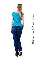 synhåll, shirt., vandrande, baksida, jeans, kvinna