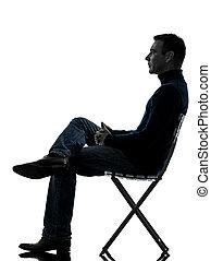 synhåll, silhuett, sida, sittande, man, längd, fyllda