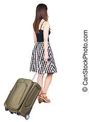 synhåll, suitcase., vandrande, baksida, kvinna, grön