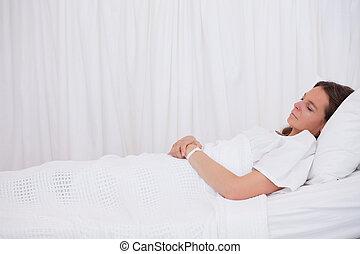 synhåll, tålmodig, sida, sova