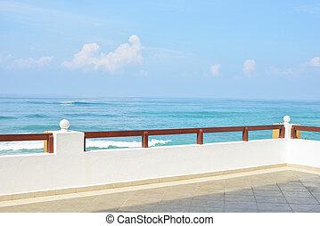 synhåll, till, den, hav, från, a, balkong