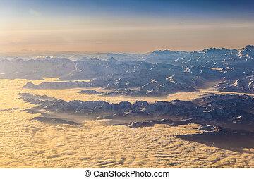 synhåll, till, mountains, av, alperna
