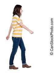 synhåll, vandrande, baksida, jeans, kvinna