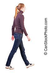 synhåll, vandrande, baksida, sweater, kvinna