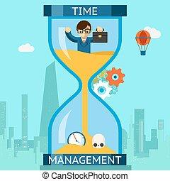 synke, forretningsmand, timeglas, management., tid