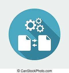 synkronisering, arkivera, in, framsteg