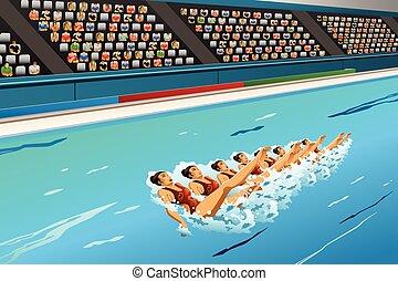 synkroniserings, konkurrens, simning
