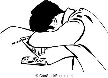 synopsis, ontwerp, student, slaap, zittende