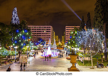 Syntagma square in Athens decorated for Christmas