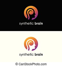 synthétique, cerveau, -, logo