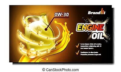 synthétique, huile, publicité, bannière, moteur, vecteur