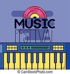 synthétiseur, festival, enregistrement, musique, vinyle, fond