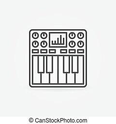 synthétiseur, symbole, ou, icône