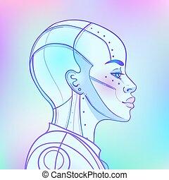 synth, robot, retro, style., template., futurismo, donna, ...