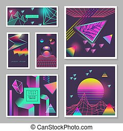 Synth Wave Poster Templates Set. Futuristic Background with Neon Glowing Geometric Elements. Holographic Design for Banners, Fabric, Flyers. Vector illustration