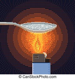 Synthesis of Crack Cocaine Pixel Art Illustration -...