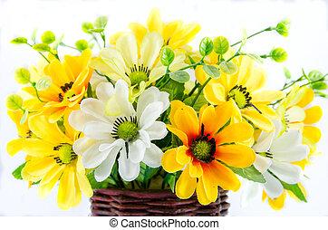 synthesis zinnia flower on wooden vase