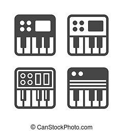 synthesize, ikona, set., vektor