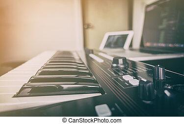synthesizer, computador, produção música, teclado