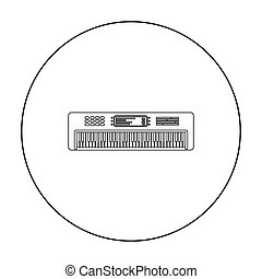 Synthesizer icon in outline style isolated on white background. Musical instruments symbol stock vector illustration