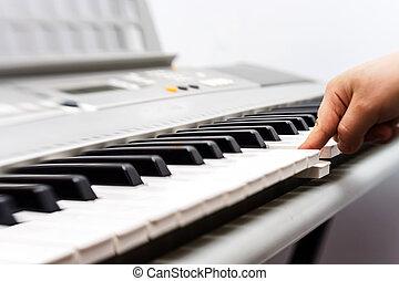 Synthesizer keyboard view - Electronic synthesizer keyboard...