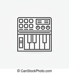 Synthesizer linear icon - vector thin line midi keyboard black symbol or logo