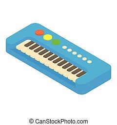 Synthesizer toy icon, cartoon style