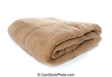 synthetic blanket in front of white background