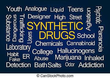 Synthetic Drugs Word Cloud on Blue Background