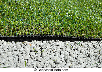 synthetic grass applied on cemented gravel