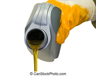 Synthetic motor oil pouring from a plastic canister