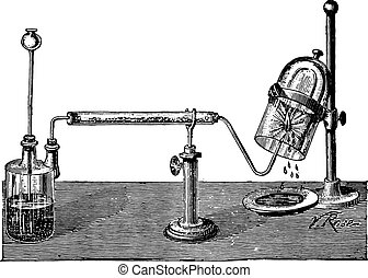 Synthetic water by the combustion of hydrogen, vintage engraving.