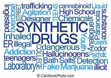 synthetisch, drugs, woord, wolk